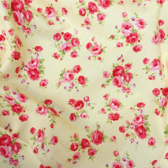 PRETTY ROSE AND HUBBLE YELLOW GINGHAM PRINT FABRIC 100/% COTTON HALF METRES
