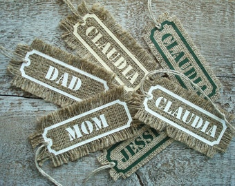 ONE Personalized Tag from Linen Burlap Fabric; Burlap Tag; Gift Tag; Christmas Stocking Tag; Personalized Gift Tag; Rustic Wedding Favor Tag