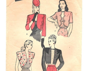 "1940s BOLERO Jacket ~ Vintage Sewing Pattern ~ Misses' Size 16 Bust 38"" ~ Butterick 3468 ~ Cap Short and Long Sleeves ~ Scalloped Front"