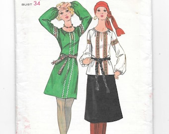 1970s Boho DRESS and BLOUSE Vintage Sewing Pattern ~ Peasant Hippie Tunic ~ A-Line Dress ~ Braid Trim ~ Butterick 5858  Size 12 Bust 34