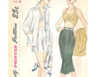 1950s Pin-Up Halter Bra Top ~ Pedal Pushers ~ Shorts ~ Beach Jacket ~ Vintage Sewing Pattern ~ Size 16 Bust 34 ~ Simplicity 3250