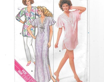 Nightgown Nightshirt Pants ~ Vintage Sewing Pattern ~ Misses Plus Size L XL  16 18 20 22 ~ Butterick 3850 Loose fitting Pullover Side Slits b5aac9bf8