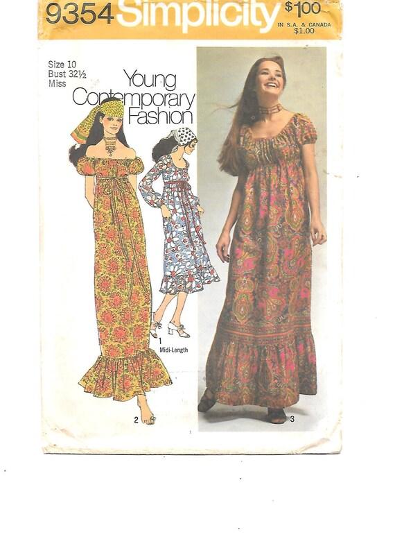 1970s BOHO Dress Vintage Sewing Pattern Hippie Peasant Gypsy | Etsy