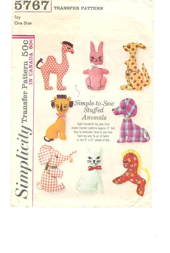 1960s Stuffed Animals ~ Vintage Sewing Pattern ~ Simple to Sew ...