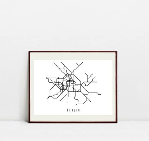Riga Subway Map.Berlin Metro Map Black And White Art Print Digital Download Art Print