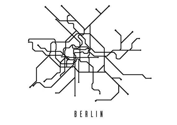 Black And White Subway Map.Berlin Metro Map Black And White Art Print Digital Download Art Print