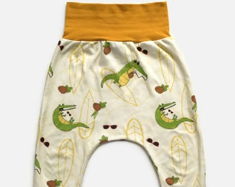 Grow with me pants crocodile, coconut, sunglasses, surf, waves, beach, harem, 0-12M, 6M-3Y, 3Y-6Y, babies, toddlers, kids, biological cotton