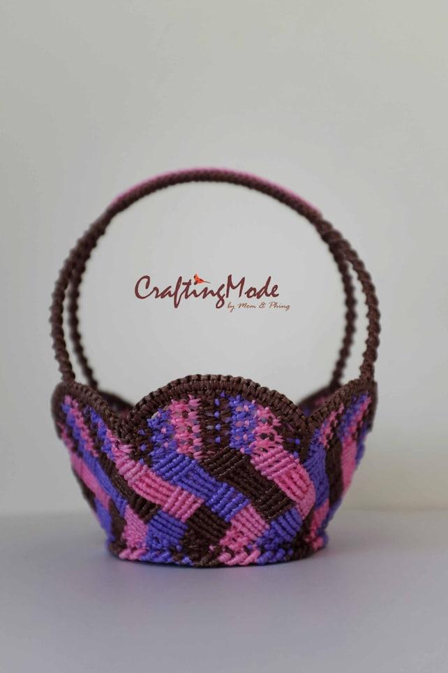 Macrame cesta hecho a mano tamaño medio forma de la flor   Etsy