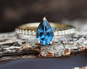 Branch ring-Unique engagement ring-Blue topaz ring-Topaz engagement-Blue topaz ring gold-Blue topaz band ring-Dainty Promise Ring-Micro pave