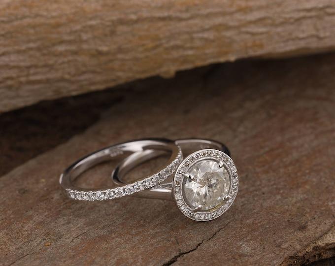 Bridal set rings white gold-1.60 carat wedding set-Halo diamond engagement wedding sets-14K white Gold-Promise ring-diamond engagement ring