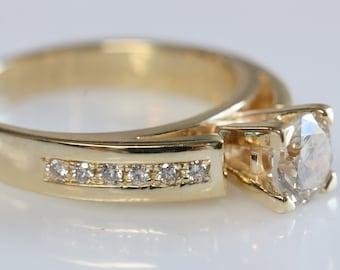 1 carat Engagement Diamond Ring -Promised ring-Gold ring-Anniversary ring-Art deco engagement ring-Solid gold ring-Round engagement
