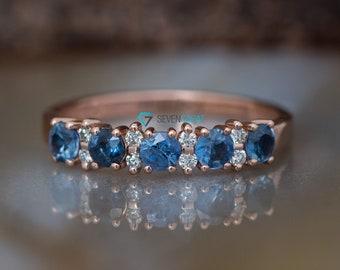 Sapphire wedding band-Blue sapphire engagement ring-Blue sapphire band-Rose Gold Ring-Sapphire ring-Anniversary ring-Matching rings