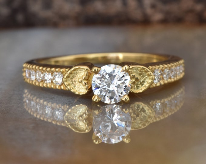 Heart engagement ring-Art deco Engagement Ring-Diamond heart ring-Gold Ring -1/2 carat solitaire diamond ring -Promise ring-ON SALE!!