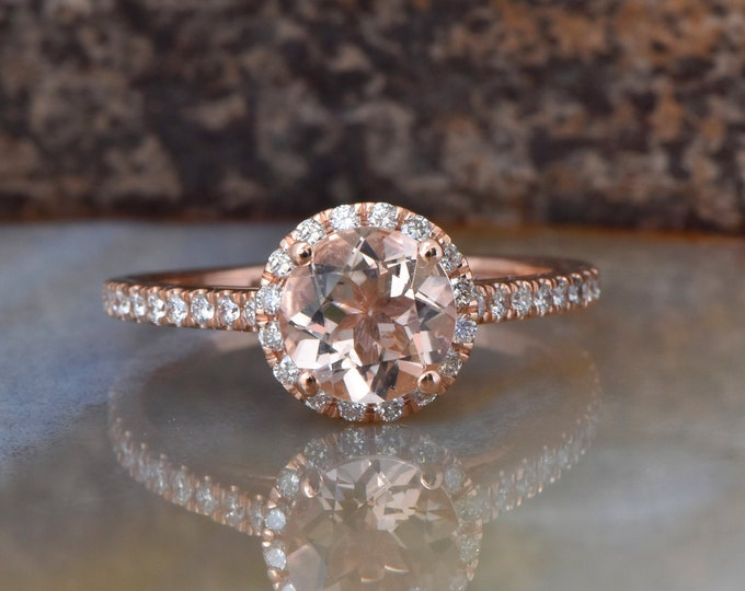 Morganite engagement ring rose gold-Halo Diamond Engagement Ring 1.50 ct -Rose Gold Ring -Bridal Jewelry-For her-Morganite ring-Promise ring