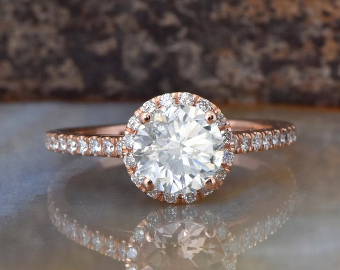 Halo Diamond Engagement Ring 1.50 ct-Rose Gold Ring-Cluster Engagement Ring-Bridal Jewelry-Anniversary ring-Promise ring-FREE SHIPPING