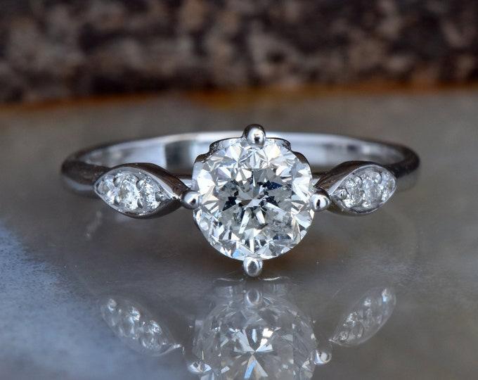 1 carat  Diamond Engagement Ring-White Gold Engagement Ring-Cluster engagement ring-Promise ring-Bridal ring-Art deco engagement ring