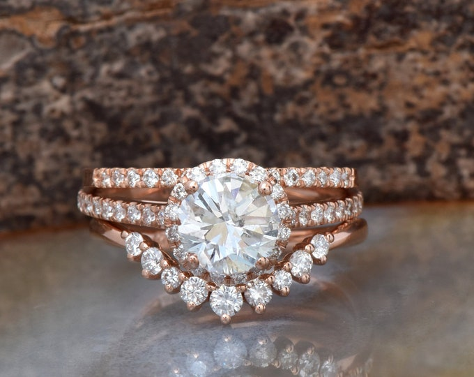 Rose gold Cluster wedding ring set-Wedding sets women rings-Diamond engagement ring vintage-Halo diamond Promise ring-Free shipping