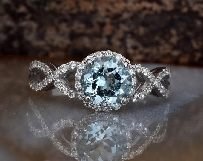 Celtic knot ring -Celtic diamond ring-Aquamarine engagement ring-FREE SHIPPING
