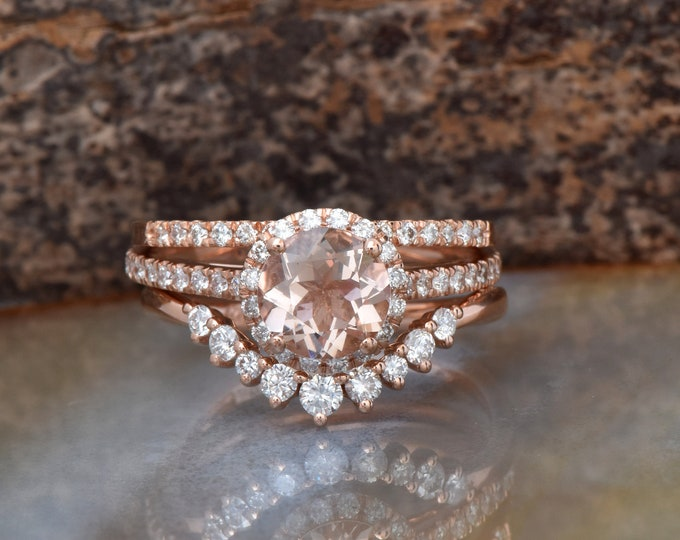 Cluster Morganite wedding set-Halo Morganite engagement ring rose gold 14k--Gold ring-Promise ring-Free shipping-Custom order jewelry
