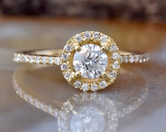 Halo Diamond Engagement Ring 1.50 ct-Yellow Gold Engagement Ring-Cluster engagement ring-Promise ring-Bridal ring-Art deco engagement ring