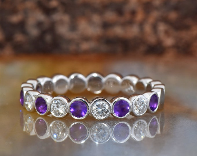 Amethyst wedding band -Eternity Wedding Band with diamonds and amethyst -white gold wedding band-FREE SHIPPING-Anillo de bodas