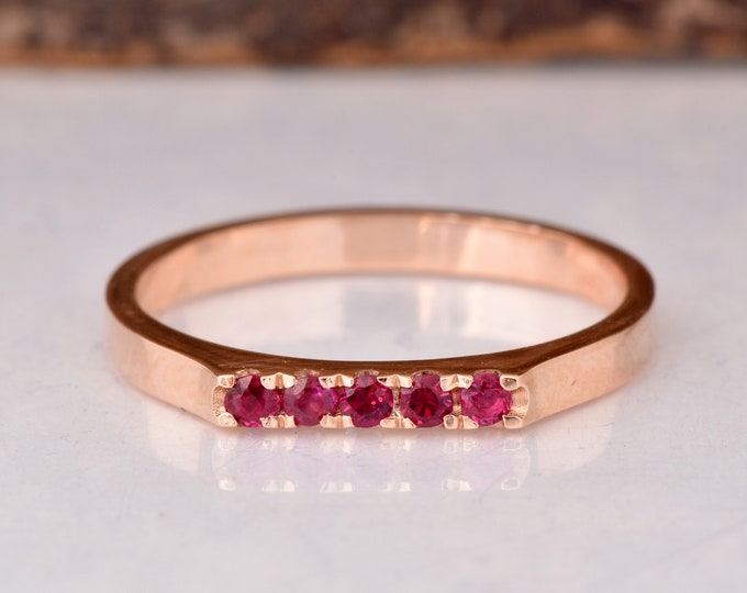 Ruby rose gold ring-Ruby Eternity Wedding Band-Ruby stackable ring-Half-Eternity Ring-Minimalist ring-FREE SHIPPING