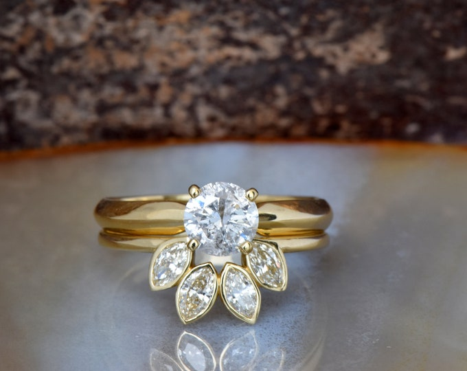 Bridal set rings yellow gold-Diamond Cluster wedding ring set-Promise ring-Art deco wedding ring set-Custom ring-Marquise wedding band