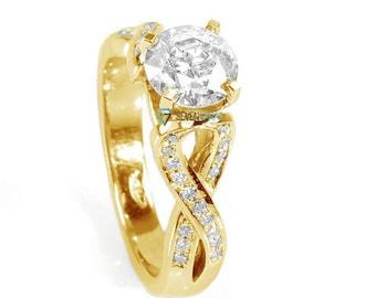1 carat Diamond Ring-14K White Diamond Ring-Engagement Ring-Celtic engagement ring-Promise ring-Celtic diamond ring-Knot diamond ring