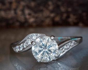 1 carat diamond Engagement Ring-Solid gold ring-Promise ring-Art deco diamond engagement ring-Knot Engagement Ring-Twisted engagement ring
