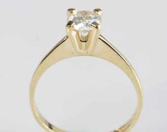 Solitaire ring-1/2 carat diamond ring-Engagement ring-14K Yellow Gold Ring-Promise ring-Wedding & Engagement-For her-Anniversary present