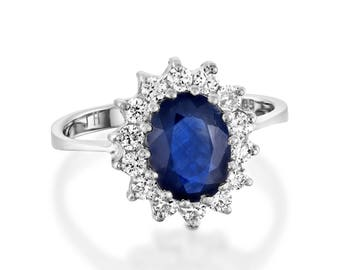 Diamond ring with Sapphire-Cluster Engagement ring-1ct Blue Sapphire-Engagement Ring-Gold ring-Promise ring-For her-Oval engagement ring