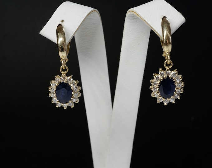 2 carat Blue Sapphire Earrings-Diamond Earrings with Sapphire-Sapphire Drop Earrings-Cluster earrings-Vintage earrings -Gift for her