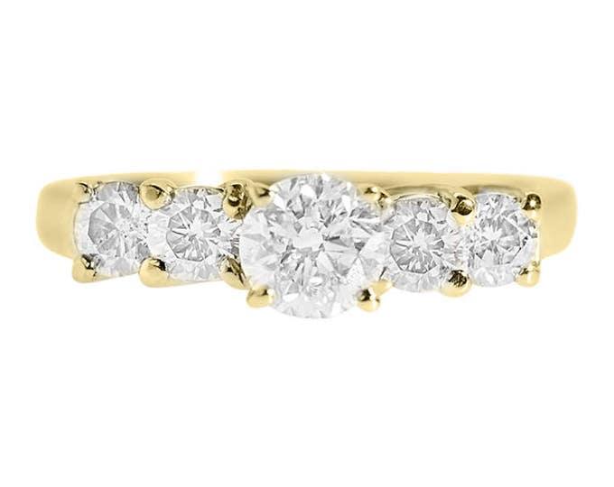 1.20 carat Celtic diamond engagement ring-14K Yellow Gold Ring-Eternity band-Multistone ring-Promise ring-Anniversary ring-Art deco ring