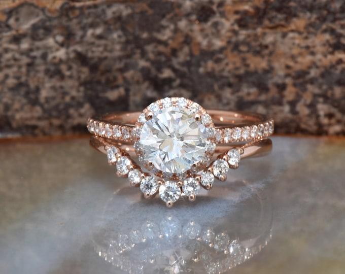 Wedding sets women rings-Rose gold Cluster wedding ring set-Diamond engagement ring vintage-Halo diamond Promise ring-Free shipping