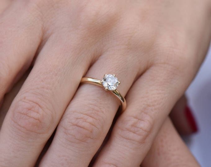 1 carat Solitaire ring-Diamond Engagement Ring-14K Yellow Gold -Women Jewelry-Promise ring-Bridal Jewelry-Wedding&engagement