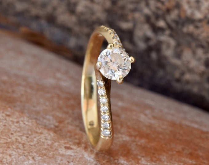 Twist diamond engagement ring- Gold Ring- Art deco engagement Ring-Promise ring- FREE SHIPPING-Celtic knot ring