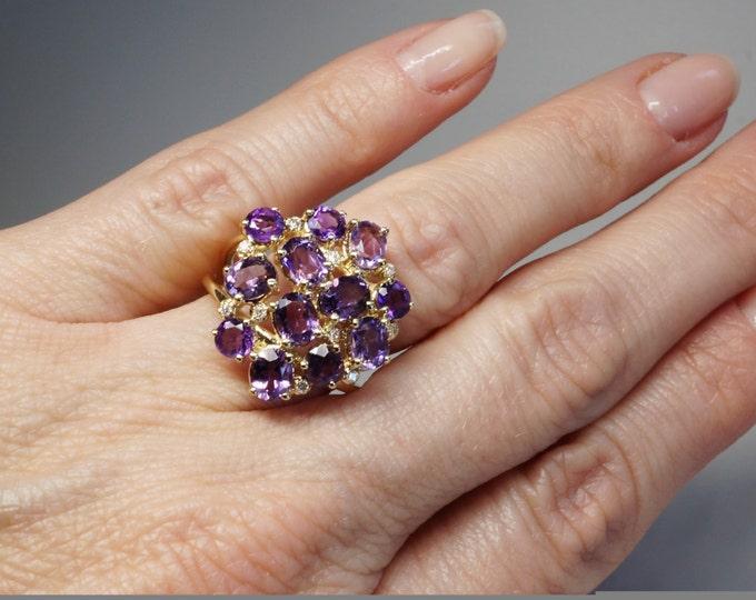 Amethyst Diamond Engagement Ring -Yellow Gold Ring-Anniversary ring-Multistone ring-Birthday present-Amethyst ring-Amethyst for her