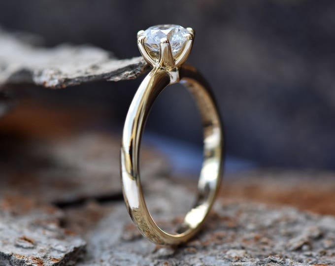 Featured listing image: Classic diamond ring-Diamond Solitaire Ring-Art deco engagement Ring-Gold ring-Promise ring -Solitaire engagement ring-For her jewelry