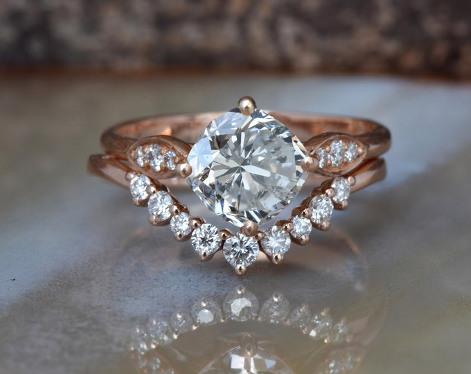Diamond cluster wedding set rose gold 14k-Gold ring-Promise ring-Art deco wedding set-FREE SHIPPING