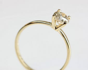 1/2 carat Solitaire Ring-Diamond Engagement Ring-Yellow Gold ring-Promise ring -Solitaire engagement ring-For her-Braided Engagement Ring