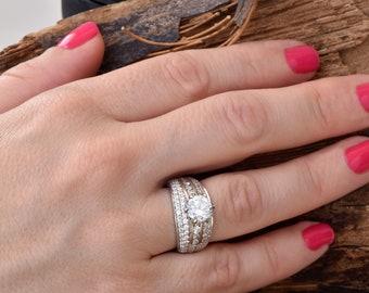 2 carat diamond ring 14k white gold- Free shipping