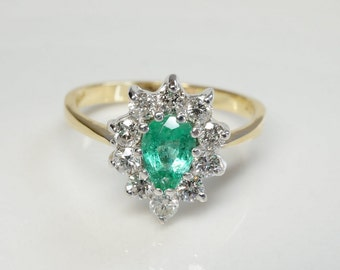 Green Emerald pear cut engagement ring 14k yellow gold with diamonds