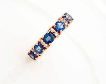Sapphire wedding band-Blue sapphire engagement ring-Blue sapphire band-Rose Gold Ring-Sapphire ring-Anniversary ring-Multistones ring