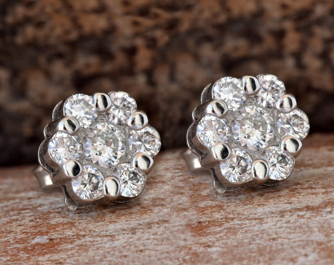 Flower diamond earrings-1.20 carat Gold Diamond Earrings-14K White Gold Earrings-Stud Earrings-Women Jewelry-Birthday present-FREE SHIPPING