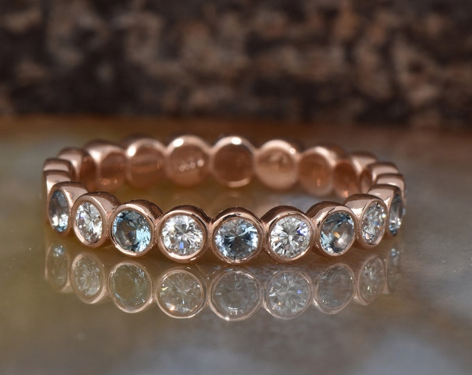 Aquamarine wedding band with Diamonds- Eternity Wedding Band-Rose gold wedding band--FREE SHIPPING-aquamarine ring-Diamond wedding band