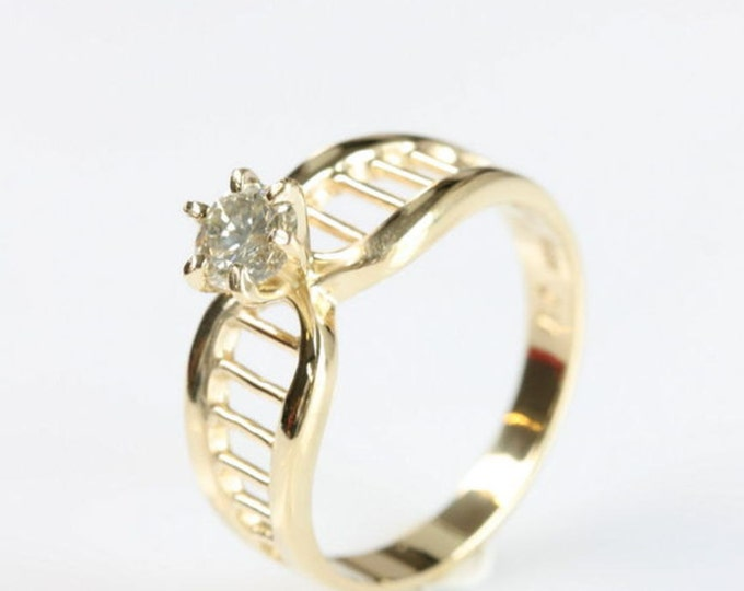 Art deco diamond ring 0.30 ct-Solitaire engagement ring-Promise ring-Bridal Jewelry-Wedding & Engagement-Yellow Gold ring-Free shipping