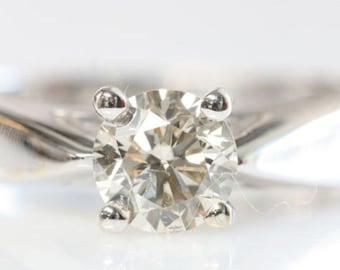 Diamond solitaire ring-Diamond Engagement Ring-Solitaire ring-14K White Gold Ring-0.30 Carats diamond-Women Jewelry-Promise ring-For her