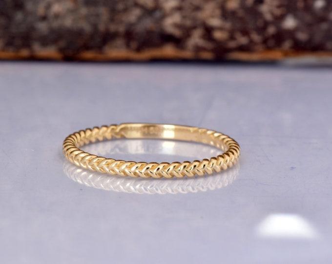 Tiny twist wedding band 14k yellow gold-Free Shipping