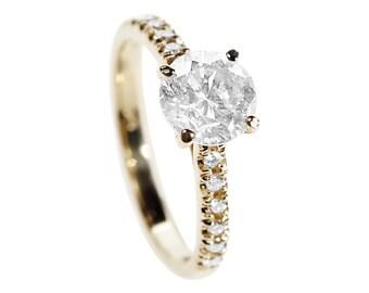Diamond Engagement Ring - Round-Cut Natural Diamond Ring - Yellow Gold Ring - Halo Setting Engagement Ring