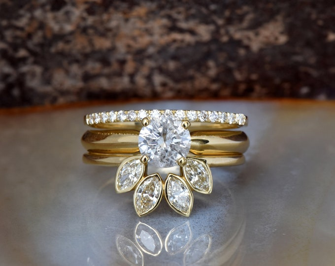 Marquise diamond wedding set 1.55 ct-Bridal set rings yellow gold-Diamond Cluster wedding ring set-Promise ring-Art deco wedding-Custom ring